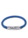 Men's Blue Leather Bracelet with Silver Lock | Clariste Jewelry - 3