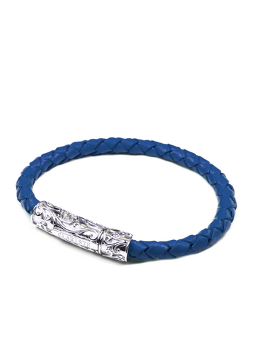 Men's Blue Leather Bracelet with Silver Lock