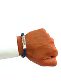 Men's Blue Leather Bracelet with Silver Lock | Clariste Jewelry - 4
