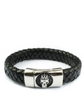 Men's Skull Leather Bracelet Black | Clariste Jewelry - 2
