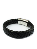 Men's Skull Leather Bracelet Black | Clariste Jewelry - 3