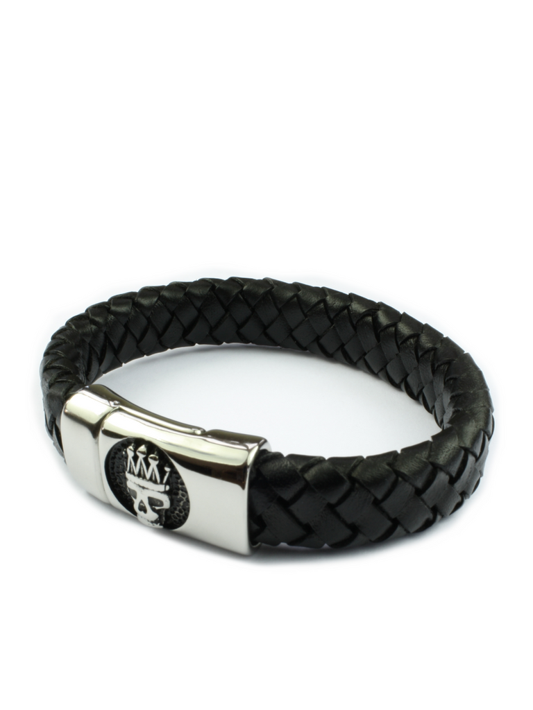 Men's Skull Leather Bracelet Black