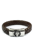 Men's Skull Leather Bracelet Brown | Clariste Jewelry - 2
