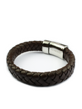 Men's Skull Leather Bracelet Brown | Clariste Jewelry - 3