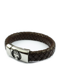 Men's Skull Leather Bracelet Brown | Clariste Jewelry