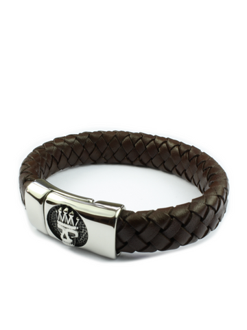 Men's Skull Leather Bracelet Brown