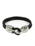 Men's Black Leather Bracelet with Silver Hook Clasp - Clariste Jewelry