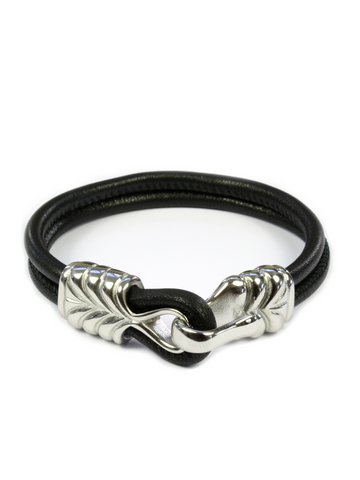 Men's Black Leather Bracelet with Silver Hook Clasp