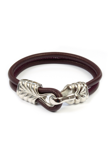 Men's Red Leather Bracelet with Silver Hook Clasp