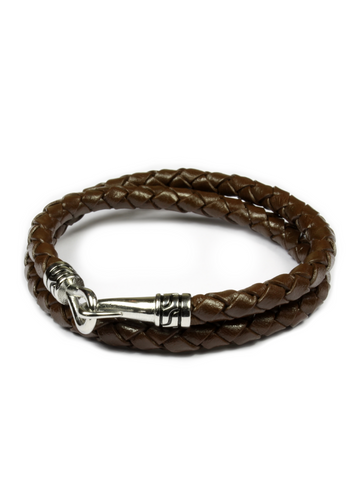 Statement Leather Bracelet Brown and Silver