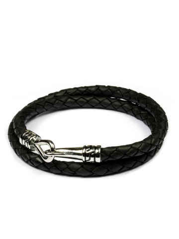 Statement Leather Bracelet Black and Silver