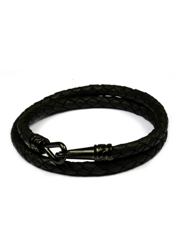 Statement Leather Bracelet Black