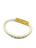 Men's Pearl White Leather Bracelet with Gold Lock | Clariste Jewelry - 2