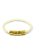 Men's Pearl White Leather Bracelet with Gold Lock | Clariste Jewelry - 3