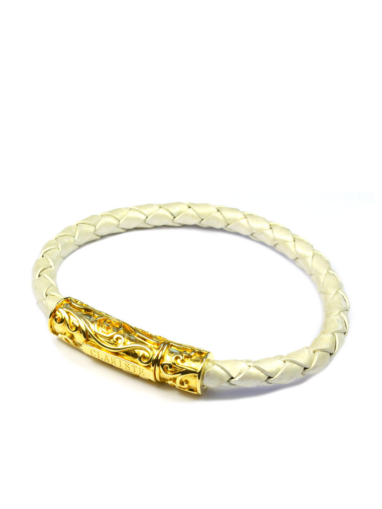 Men's Pearl White Leather Bracelet with Gold Lock