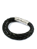Men's Black Double-Wrap Leather Bracelet with Silver Lock | Clariste Jewelry - 2