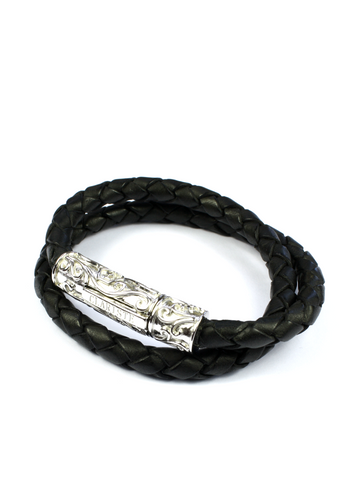 Men's Black Double-Wrap Leather Bracelet with Silver Lock