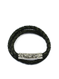 Women's Black Double-Wrap Leather Bracelet with Silver Lock | Clariste Jewelry - 1