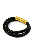 Men's Black Double-Wrap Leather Bracelet with Gold Lock | Clariste Jewelry - 2
