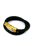 Men's Black Double-Wrap Leather Bracelet with Gold Lock | Clariste Jewelry
