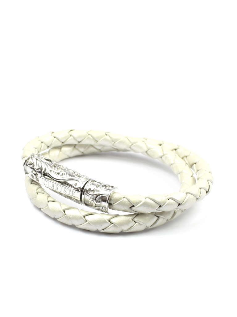 Men's Pearl White Double-Wrap Leather Bracelet with Silver Lock