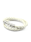 Men's Pearl White Double-Wrap Leather Bracelet with Silver Lock | Clariste Jewelry
