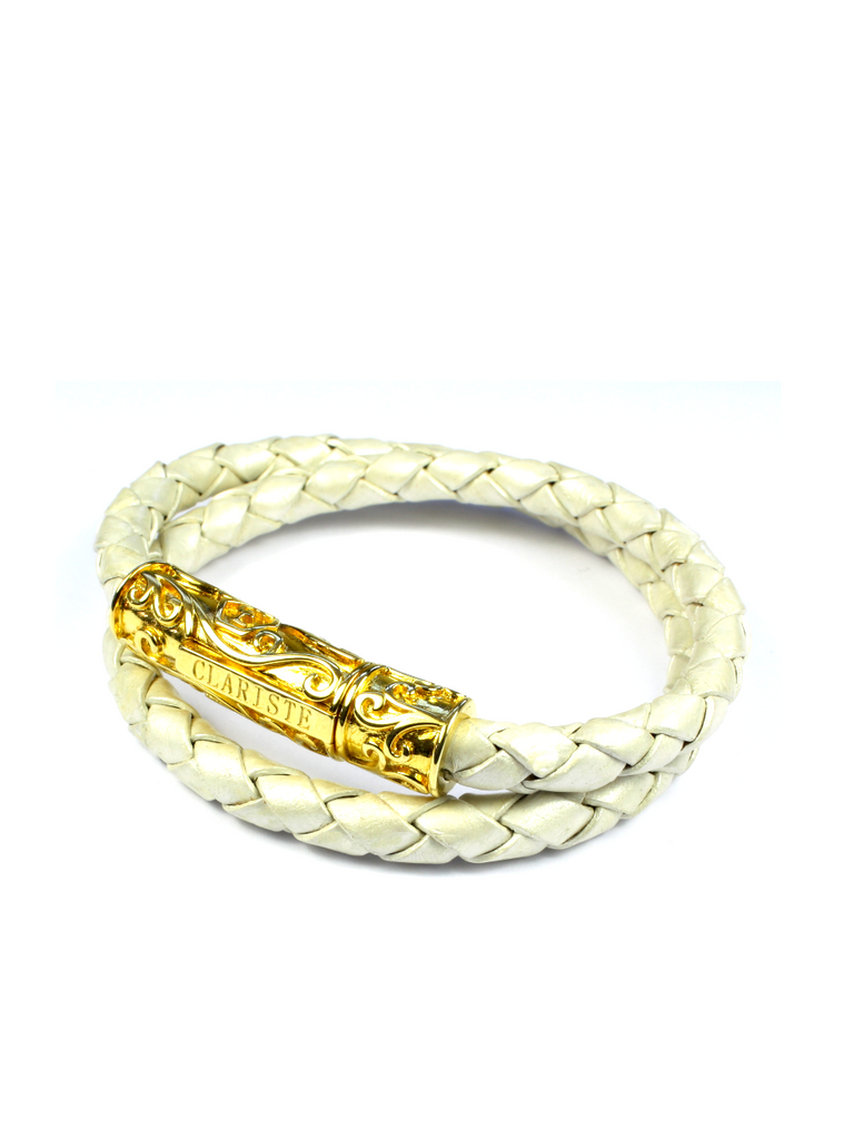 Men's Pearl White Double-Wrap Leather Bracelet with Gold Lock
