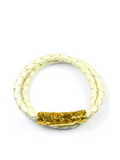 Men's Pearl White Double-Wrap Leather Bracelet with Gold Lock | Clariste Jewelry - 1