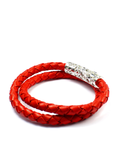 Women's Red Double-Wrap Leather Bracelet with Silver Lock  | Clariste Jewelry - 2