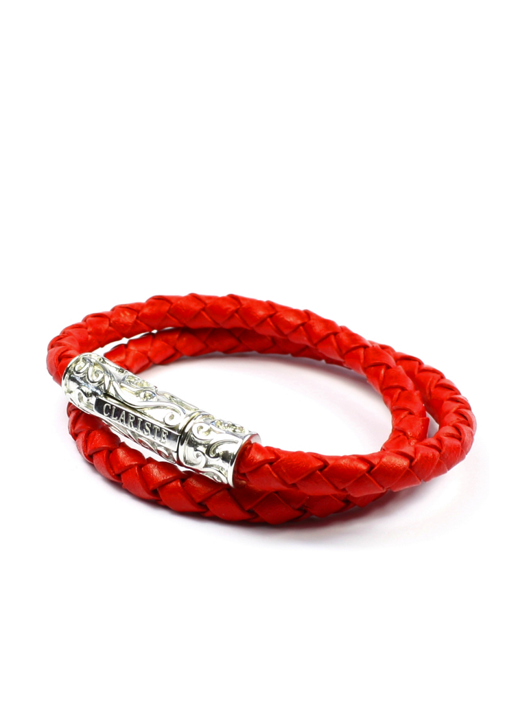 Men's Red Double-Wrap Leather Bracelet with Silver Lock