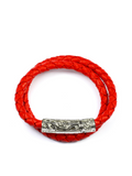 Women's Red Double-Wrap Leather Bracelet with Silver Lock  | Clariste Jewelry - 1