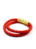 Men's Red Double-Wrap Leather Bracelet with Gold Lock | Clariste Jewelry - 2