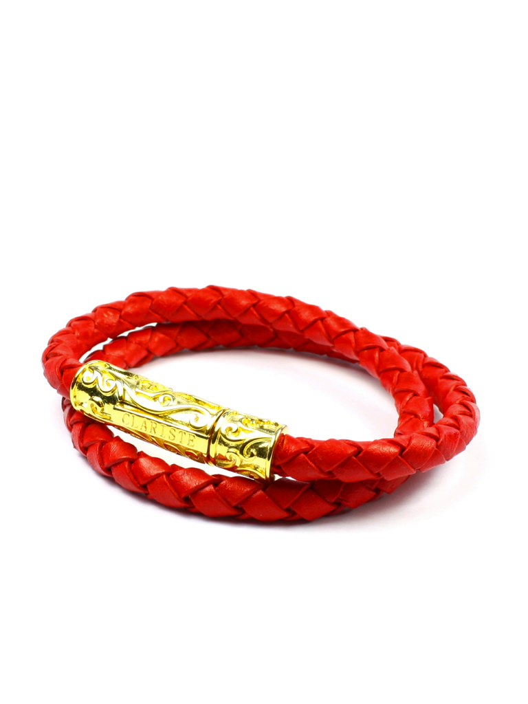 Men's Red Double-Wrap Leather Bracelet with Gold Lock