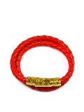Women's Red Double-Wrap Leather Bracelet with Gold Lock | Clariste Jewelry - 1