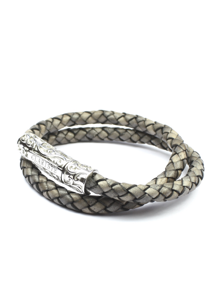 Men's Grey Double-Wrap Leather Bracelet with Silver Lock