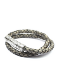 Men's Grey Double-Wrap Leather Bracelet with Silver Lock | Clariste Jewelry
