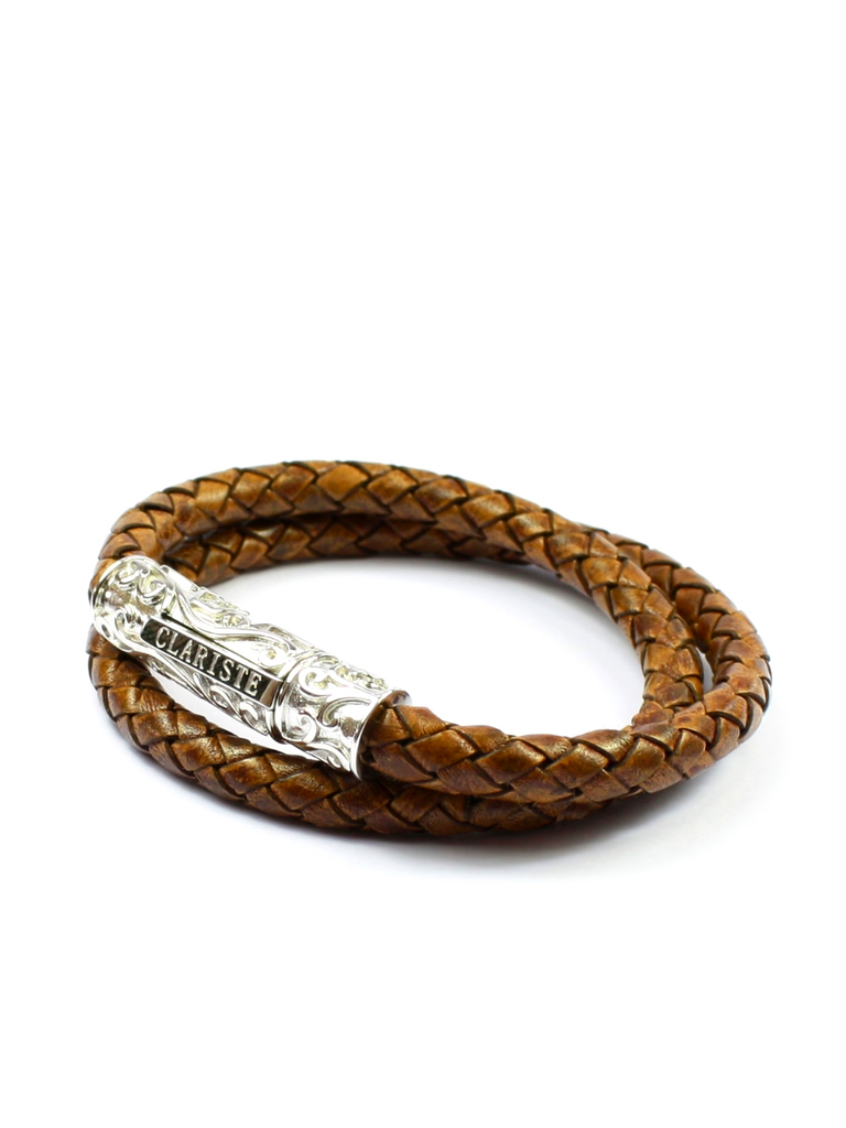 Men's Brown Double-Wrap Leather Bracelet with Silver Lock