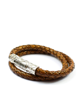 Men's Brown Double-Wrap Leather Bracelet with Silver Lock | Clariste Jewelry