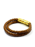Men's Brown Double-Wrap Leather Bracelet with Gold Lock | Clariste Jewelry - 2