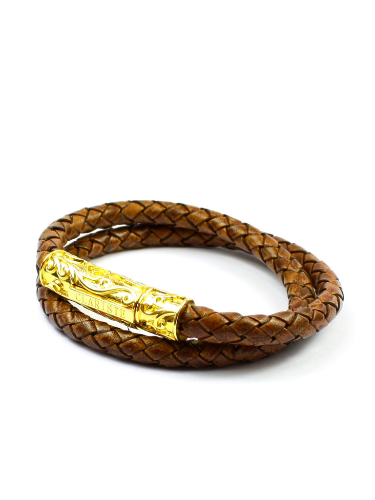 Men's Brown Double-Wrap Leather Bracelet with Gold Lock