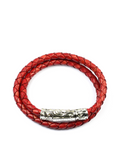 Men's Vintage Red Double-Wrap Leather Bracelet with Silver Lock | Clariste Jewelry - 1