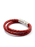 Men's Vintage Red Double-Wrap Leather Bracelet with Silver Lock | Clariste Jewelry - 2