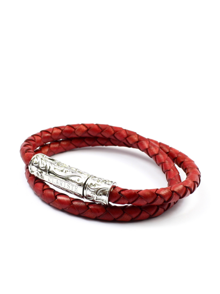 Men's Vintage Red Double-Wrap Leather Bracelet with Silver Lock