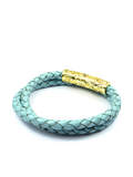 Men's Sea Blue Double-Wrap Leather Bracelet with Gold Lock | Clariste Jewelry - 2