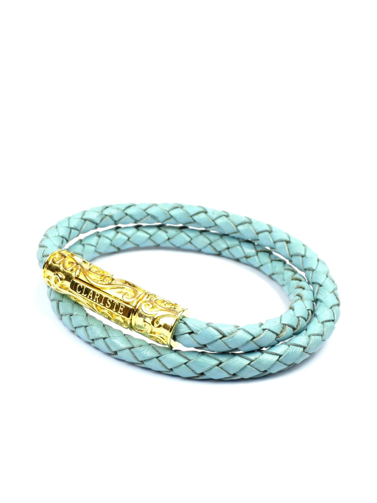 Men's Sea Blue Double-Wrap Leather Bracelet with Gold Lock