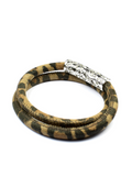 Men's Brown Leopard Double-Wrap Suede Bracelet with Silver Lock  | Clariste Jewelry - 2