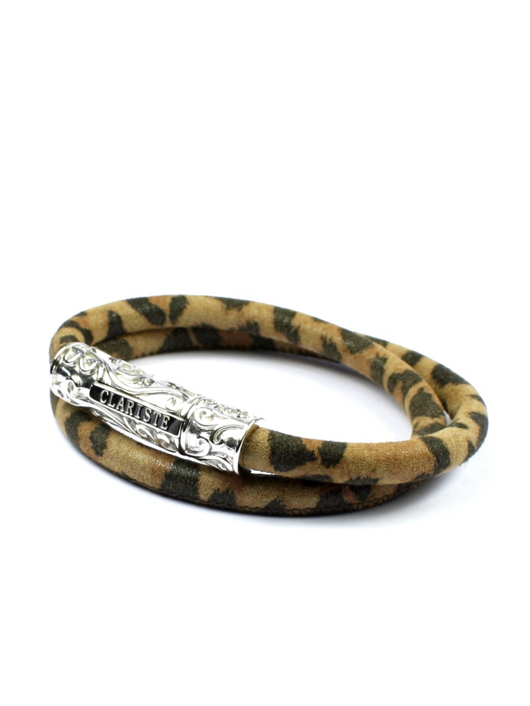 Men's Brown Leopard Double-Wrap Suede Bracelet with Silver Lock