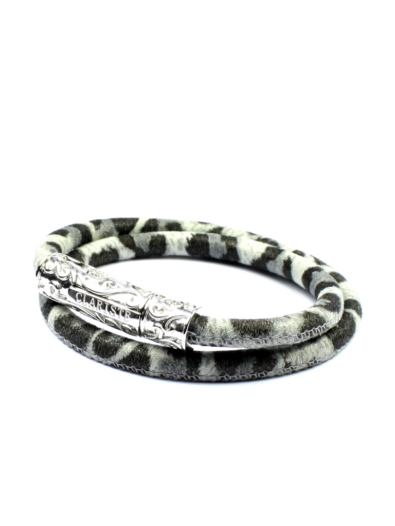 Men's White Leopard Double-Wrap Suede Bracelet with Silver Lock