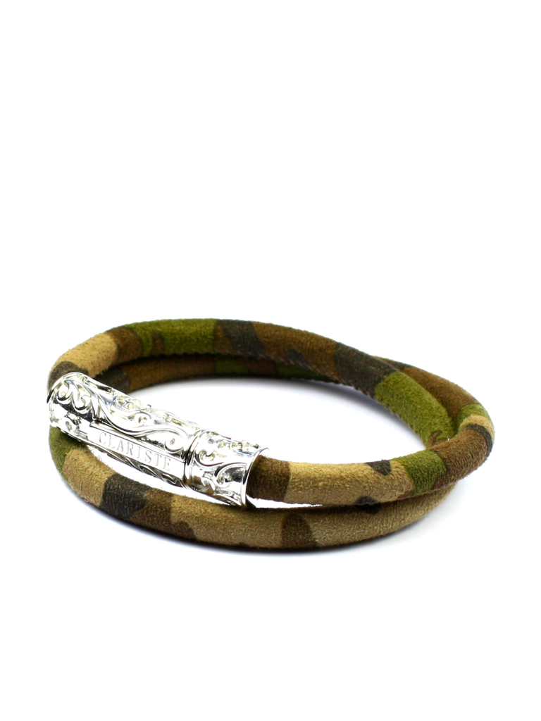 Men's Camouflage Double-Wrap Suede Bracelet with Silver Lock