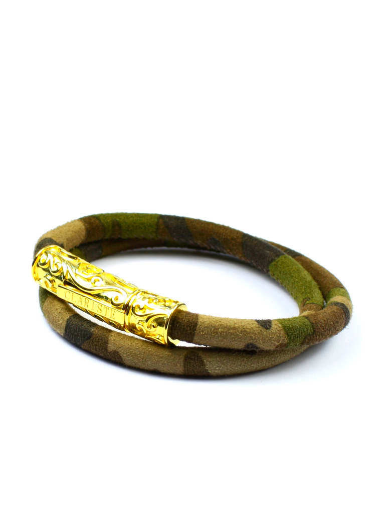 Men's Camouflage Double-Wrap Suede Bracelet with Gold Lock
